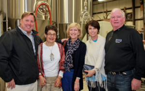 Foundation president Ruth Winett chats with attendees at Jack's Abby Brewing.